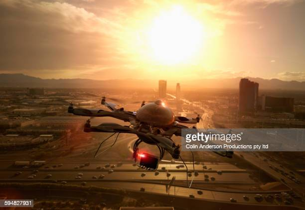 Drone flying over Las Vegas cityscape, Nevada, United States