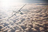 UAV Drone shown above the clouds