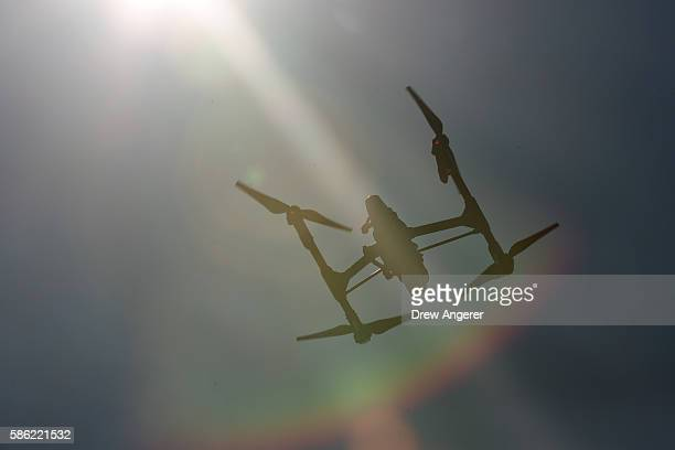 A drone hovers in the sky during practice day at the National Drone Racing Championships on Governors Island August 5 2016 in New York City More than...