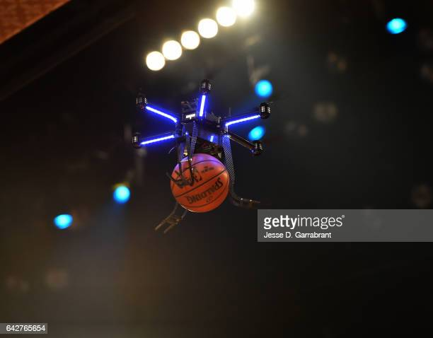 A drone is flown for a dunk attempt by Aaron Gordon of the Orlando Magic during the Verizon Slam Dunk Contest as part of 2017 AllStar Weekend at the...