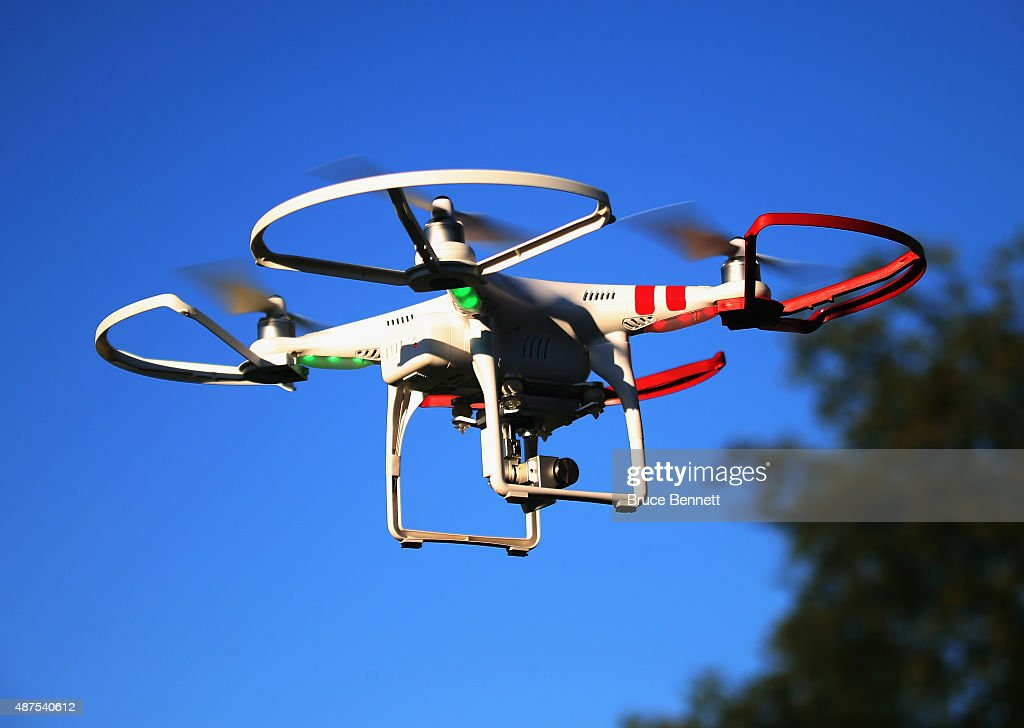 A drone is flown for recreational purposes in the sky above Old Bethpage New York on September 5 2015