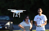 A drone is flown for recreational purposes in the sky above Syosset New York on August 30 2015