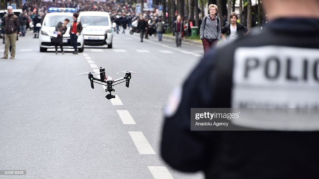 A drone is used by the police during the protest march, arranged by the French CGT Trade Union, against the government's labour reform proposals in Paris, France on April 29, 2016.