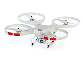 Drone isolated on white background 3d rendering