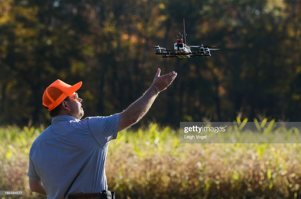 A drone lands after taking footage at Erwin Wilder Wildlife Management Area at on October 21, 2013 in Norton, Massachusetts.