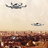 futuristic drone flying over the city