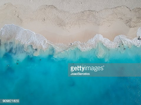 Drone photo Grace Bay, Providenciales, Turks and Caicos : Stock Photo