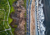Drone photo of Costa Verde highway near the beach in Lima