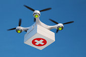 Drone quadcopter carrying first aid kit for fast emergency medical care.