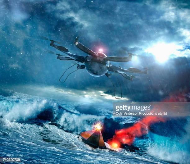 Drone recovering space capsule in ocean