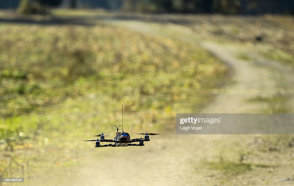 A drone takes footage at Erwin Wilder Wildlife Mangement Area in order to monitor illegal hunting activities at on October 21, 2013 in Norton, Massachusetts.