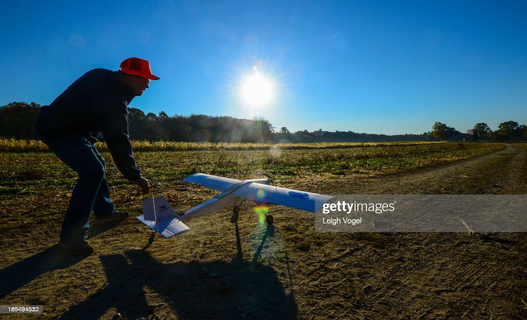 A drone takes off in order to monitor illegal hunting activities at Erwin Wilder Wildlife Management Area at on October 21, 2013 in Norton, Massachusetts.
