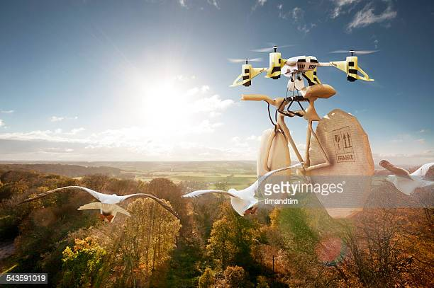 Drone transporting a wrapped bicycle