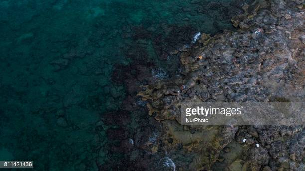 A drone view of coast of Casalabate Italy on July 9 2017 Casalabate is a town on the Adriatic coast in the province of Lecce It is a small village of...