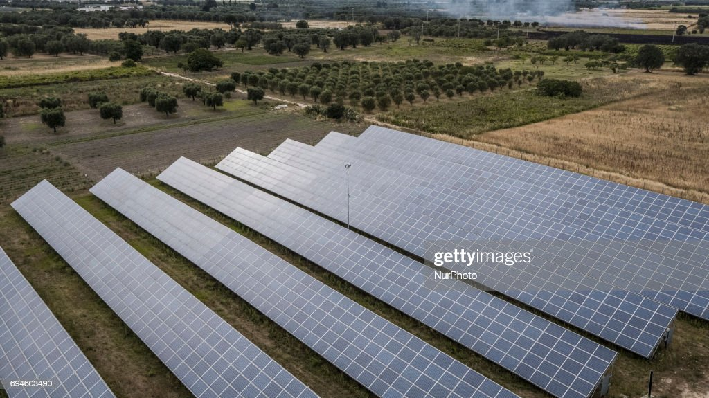A drone view of photovoltaic panels in San Pietro Vernotico, South of Italy, on June 10, 2017.