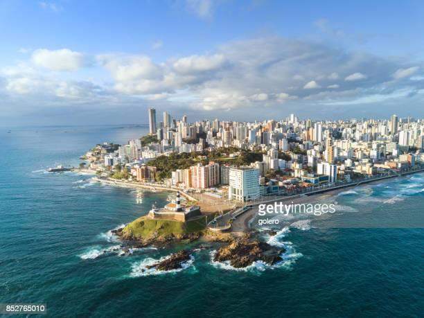 drone view on coastline and skyline of Salvador da Bahia