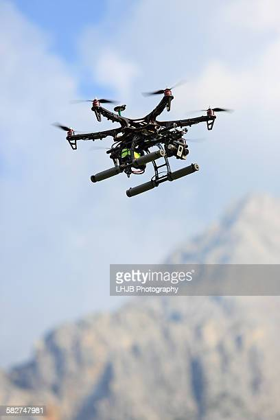 Drone with camera flying in Tyrolean Alps, Austria