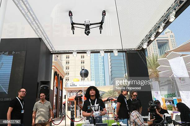 Drones and robotics are seen on display at the 35th GITEX Technology Week at Dubai World Trade Centre on October 20 2015 in Dubai United Arab...