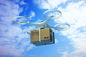 "Drones carry express packages in the sky.""nPackages are transported in high-tech Settings,online shopping,Concept of automatic logistics management.3d rendering."