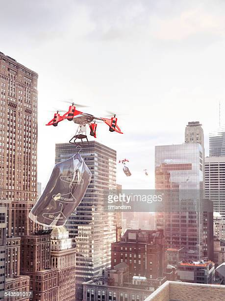 Drones delivering dry cleaning in a city