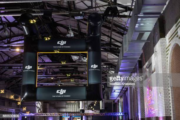 Drones flies around the track at Station Berlin during the DCL Drone Champions League Championship Finals in Berlin on December 02 2017 in Berlin...