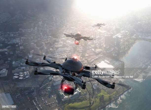 Drones flying over Honolulu cityscape, Hawaii, United States