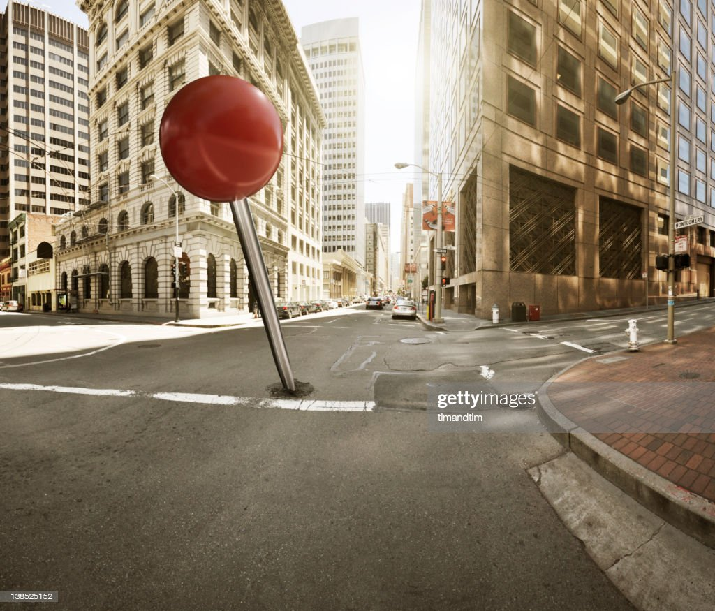 Drooped pin in the city