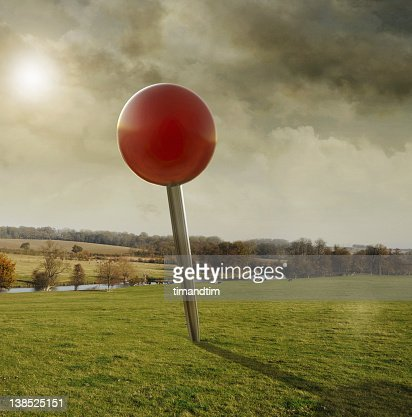 Drooped pin in the fields on a warm day : Stock Photo