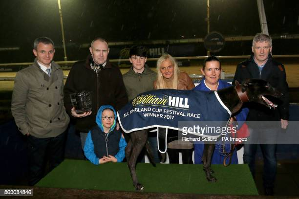Droopys Verve with connections A Harrison and The Conlon Family after winning the second race at Newcastle during the William Hill All England Cup...