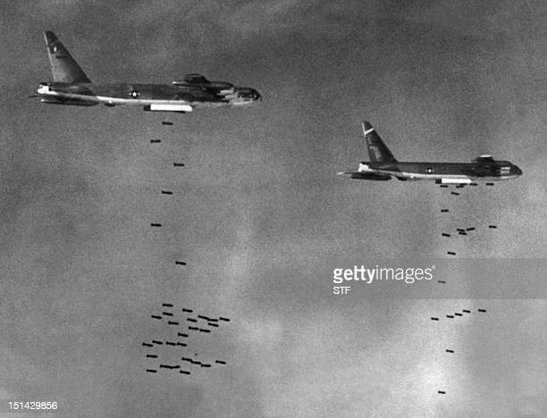 US B52 drop bombs over a Viet Cong controlled area in South Vietnam 02 August 1965 during the Vietnam War