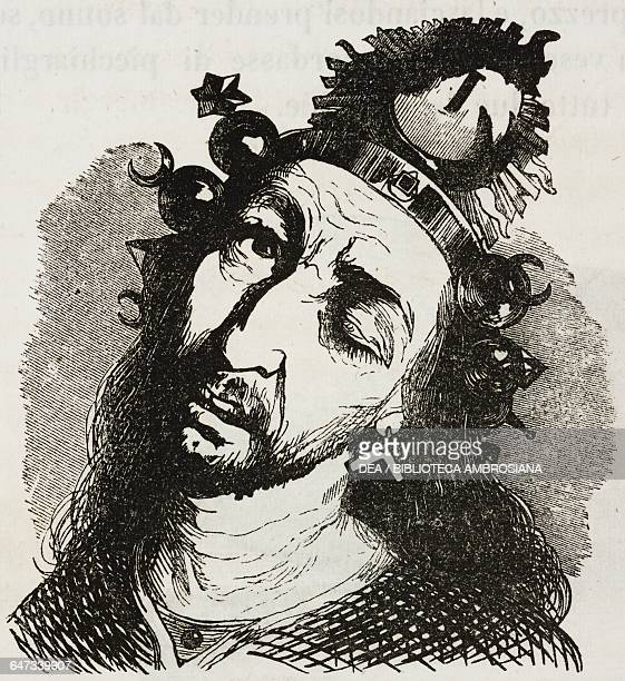 Drop cap letter I with the face of a Laputan inhabitant illustration from Chapter Three Part III A Voyage to Laputa Balnibarbi Luggnagg Glubbdubdrib...