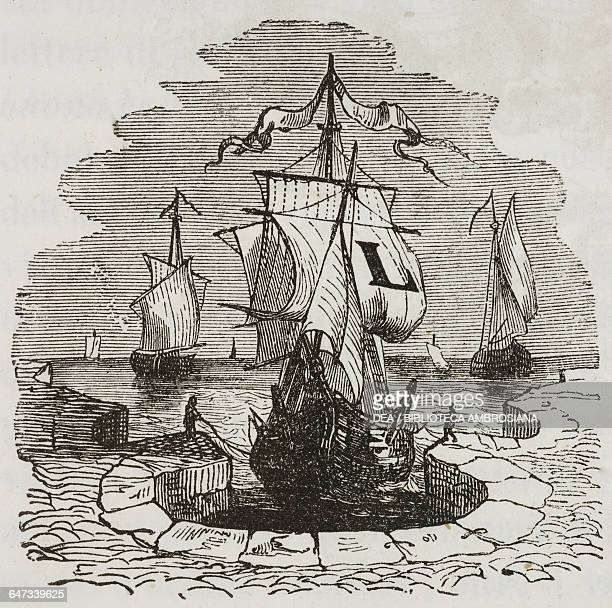 Drop cap letter L with sailing ship at anchor in the port of Blefuscu illustration from Chapter Five Part I A Voyage to Lilliput Gulliver's travels...