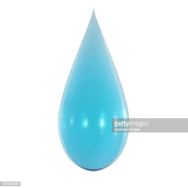 Drop of light blue liquid on white