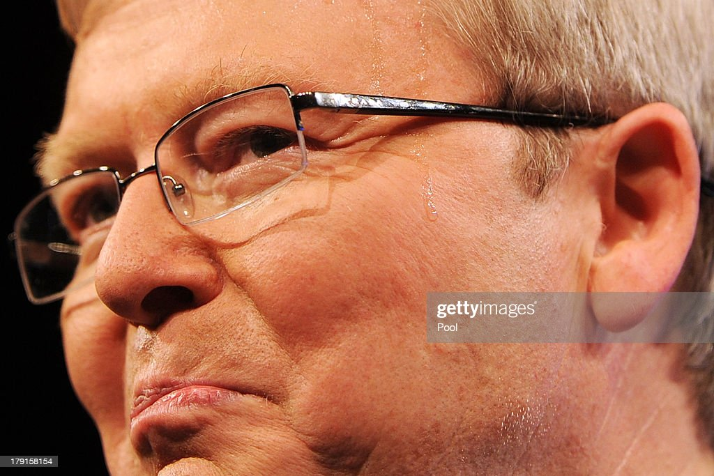 A drop of sweat is seen on Prime Minister <a gi-track='captionPersonalityLinkClicked' href=/galleries/search?phrase=Kevin+Rudd&family=editorial&specificpeople=707751 ng-click='$event.stopPropagation()'>Kevin Rudd</a>' face as he speaks during the Labor party campaign launch at the Brisbane Convention and Exhibition Centre on September 1, 2013 in Brisbane, Australia. The incumbent centre-left Australian Labor Party has trailed the conservative Liberal-National Party coalition for the first four weeks of the campaign, and most pollsters give them little hope of retaining government. Australians head to the polls this Saturday, September 7.