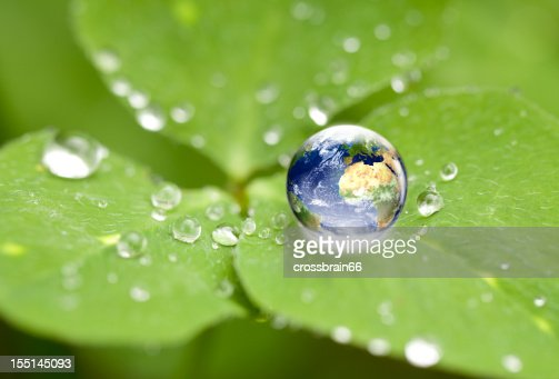 Drop of water on a leaf with the world inside