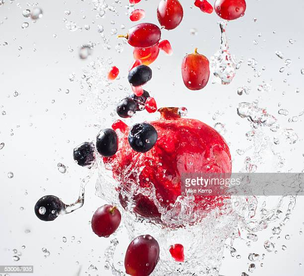 Droplets splashing on fruits