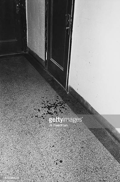 Drops of blood remain on an apartment block floor after a knife fight in New York City 1979