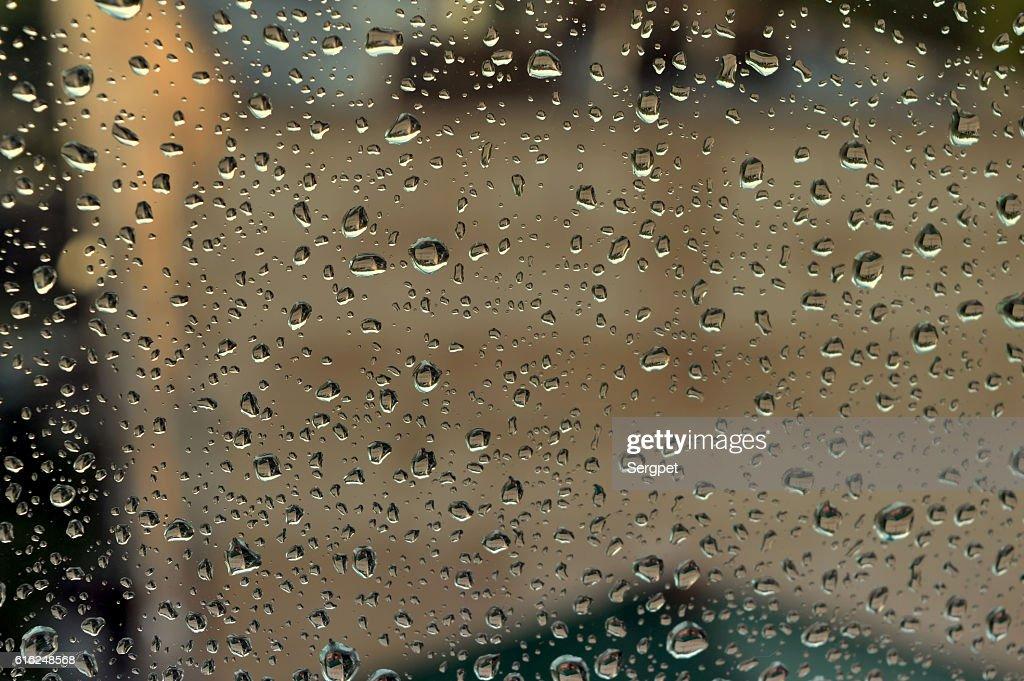 Gotas de Chuva na janela : Foto de stock