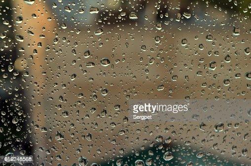 Drops of rain on the window : Stock Photo