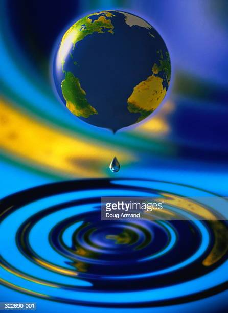 Drops of water falling from globe,  (Digital Composite)