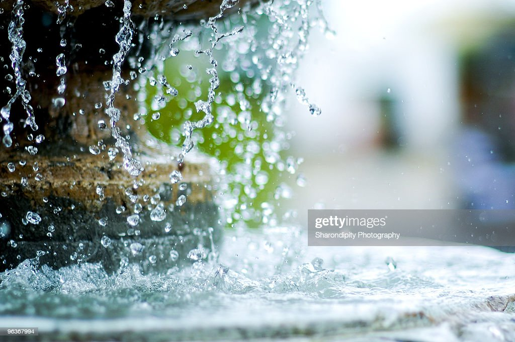 Drops of water from fountain