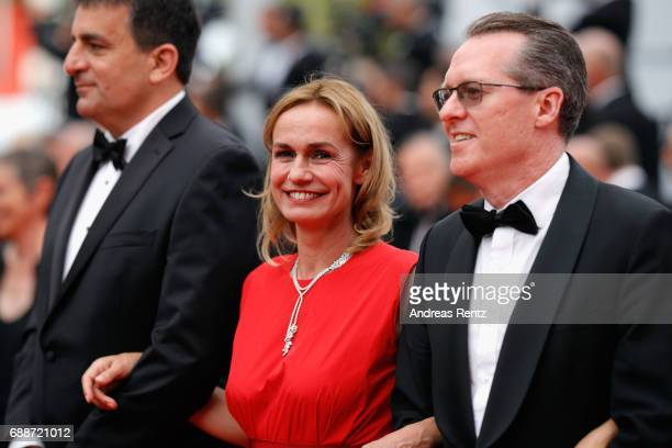 Dror Moreh Sandrine Bonnaire and Lorenzo Codelli attend the 'Amant Double ' screening during the 70th annual Cannes Film Festival at Palais des...