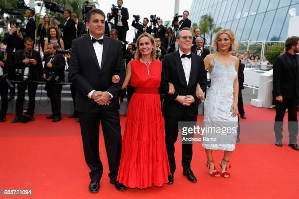 Dror Moreh Sandrine Bonnaire Lorenzo Codelli and Lucy Walker attend the 'Amant Double ' screening during the 70th annual Cannes Film Festival at...