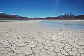 Drought Dry Lake Cracked Surrounded By Mountains and Blue Sky