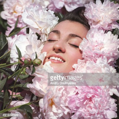Drowning in flowers : Stock Photo