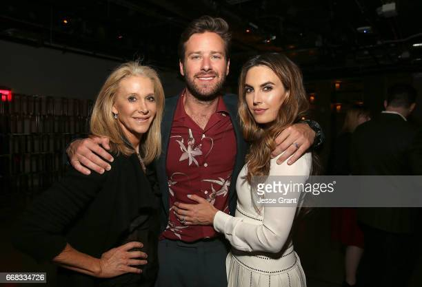 Dru Ann Mobley actor Armie Hammer and actress Elizabeth Chambers attend the premiere of A24's 'Free Fire' after party on April 13 2017 in Los Angeles...