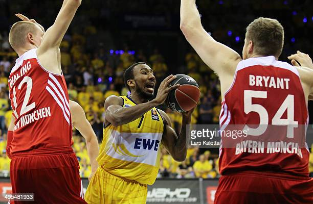 Dru Joyce of Oldenburg in action during game four of the 2014 Beko BBL Playoffs SemiFinal between EWE Baskets Oldenburg and FC Bayern Muenchen on...
