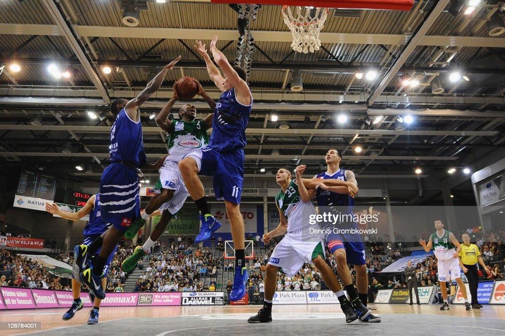 Dru Joyce of Trier jumps towards the basket during the BEKO BBL Bundesliga match between TBB Trier and Eisbaeren Bremerhaven at Arena Trier on...