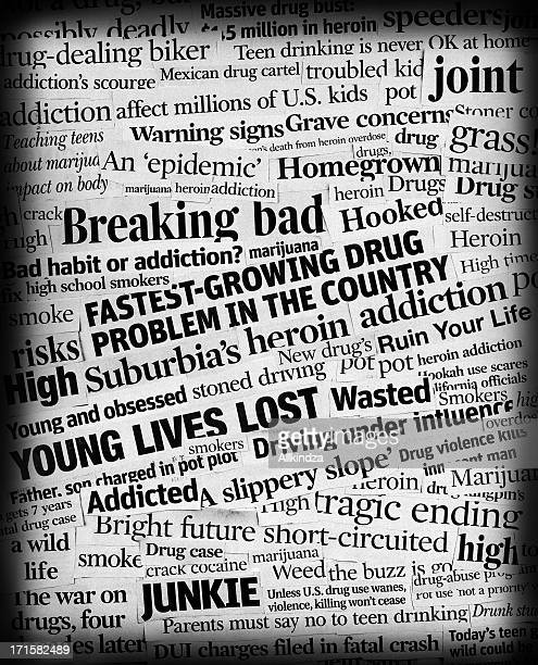 drug addiction headline collage