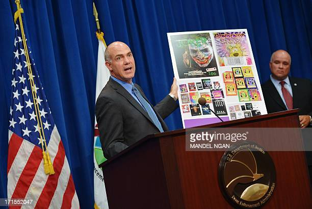 Drug Enforcement Agency Special Agent in charge of Special Operations Derek Maltz speaks as DEA Chief of Operations James Capra looks on during a...